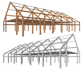 steel and wooden building scheme isolated angle perspective