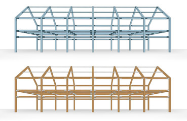 steel and wooden beam framework building scheme isolated vector