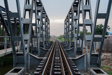 railway bridge in evening