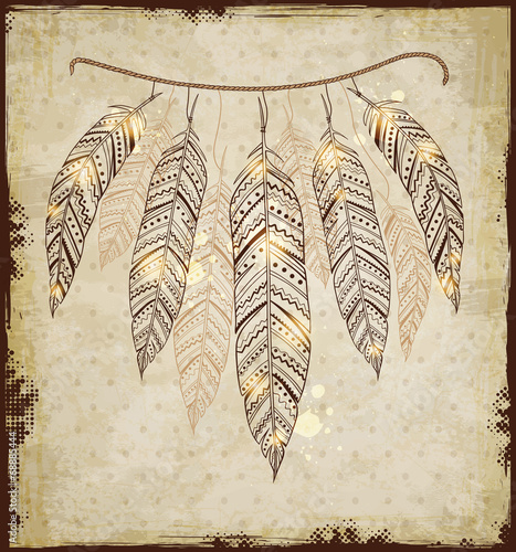 Decorative background with feathers - 68885444