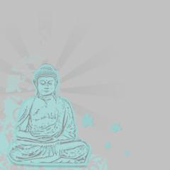 buddha hintergrund blau quadrat