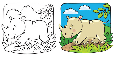 Little rhino coloring book