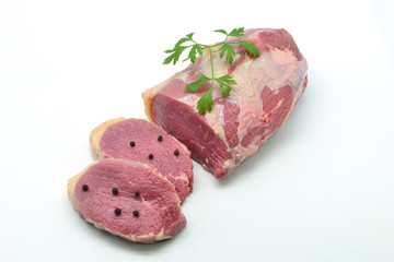 Bottom round roast raw isolated in white