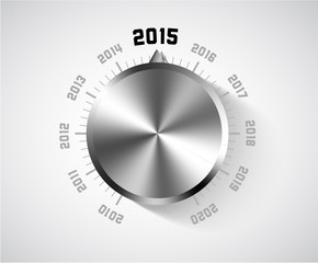 Vector 2015 New Year card with chrome knob