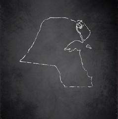 Kuwait map blackboard chalkboard vector