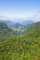 Aerial view of mountains on Madeira island