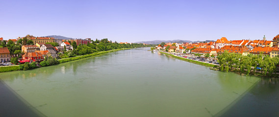 Panoramic view of Drava river in Maribor city