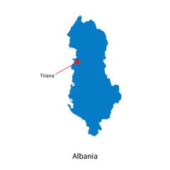 Detailed vector map of Albania and capital city Tirana