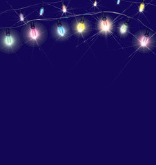 Vector Christmas lights on blue background.