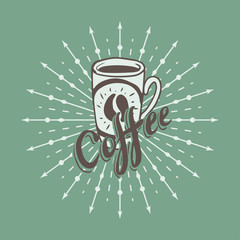 Hand drawn background with coffee mug
