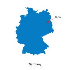 Detailed vector map of Germany and capital city Berlin