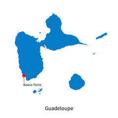 Detailed vector map of Guadeloupe and capital city Basse-Terre