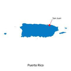 Detailed vector map of Puerto Rico and capital city San Juan
