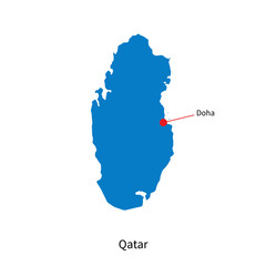 Detailed vector map of Qatar and capital city Doha