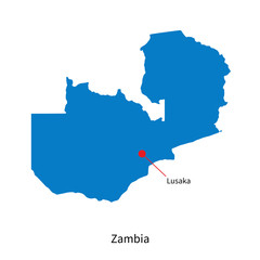 Detailed vector map of Zambia and capital city Lusaka