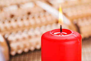 Red burning candle