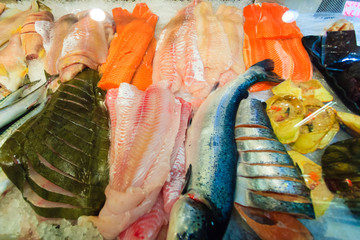 Fishes at fish market (Fisketorget) in Bergen, Norway