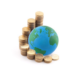 World standing on money