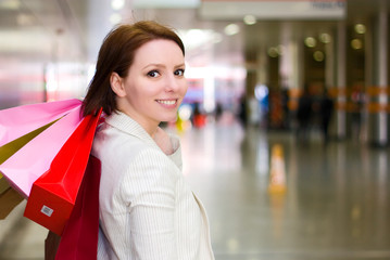 beautiful young woman shopping.