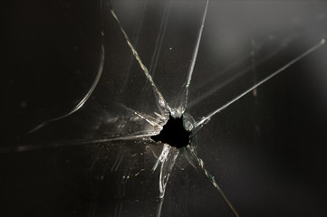 smashed glass window