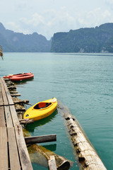 View in Chiew Larn Lake, Khao Sok National Park, Thailand.