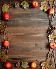 Apples,fall leaves and pine cones