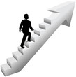 Business man climb stairs success