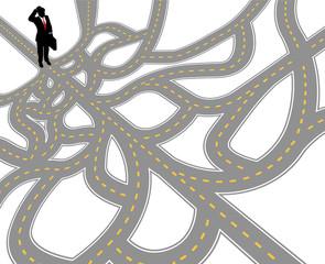 Business man question complex path