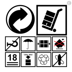 Handling & packing icon set - used on the boxes or packaging