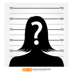 Police lineup or mugshot of anonymous female silhouette