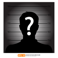 Police lineup or mugshot of anonymous male silhouette
