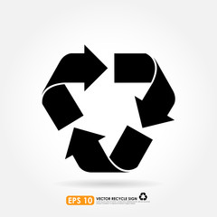 Recycle sign in black color - vector icon
