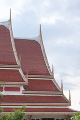 Thai art on roof Church at Thai temple. with sky