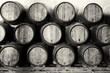 Leinwanddruck Bild - Whisky or wine barrels in black and white