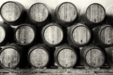 Whisky or wine barrels in black and white - 68892670