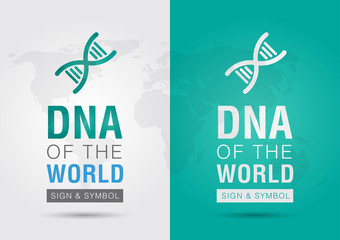 DNA of the world. Icon symbol DNA and the world with a chromosom