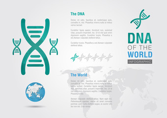 DNA of the world. Info graphic the world with a chromosome.