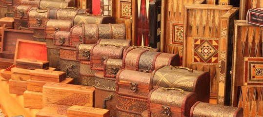Handmade turkish boxes in a traditional turkish market