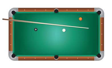 Realistic Billiards Pool Table Green Felt Illustration