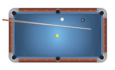 Realistic Billiards Pool Table Blue Felt Illustration