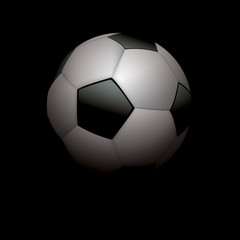 Realistic Soccer Ball Football on Black Illustration