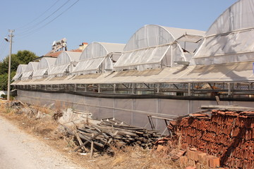 Rows of greenhouses in turkey