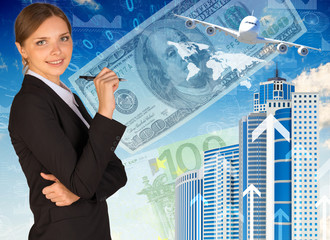 Businesswoman with airplane, skyscrapers and money