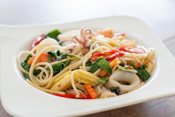 "Spaghetti ""Ki-Mao"" Seafood with Chili & Basil"
