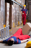Warehouseman after accident at height
