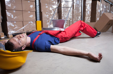 Unconscious worker after falling from a ladder