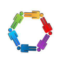 Teamwork colorful people working together logo vector