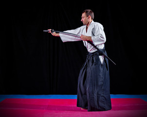 Martial arts fighter with katana