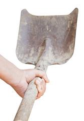 worker hand holds old shovel