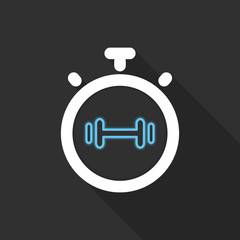 Stopwatch symbol in flat design on background